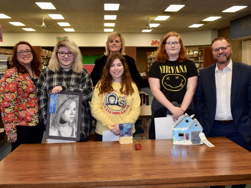 Art award winners for Shawnee High School were announced Tuesday. Will Rosebure (far right) for Kyle Rosebure, BancFirst Insurance Services, Inc., presented the awards to the students. Joining in the presentation are, from left, Hillary Grange, assistant
